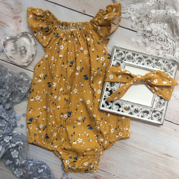 cf24fb0b6 Matching Sets | Boutique Baby Girls Mustard Yellow Floral Romper ...